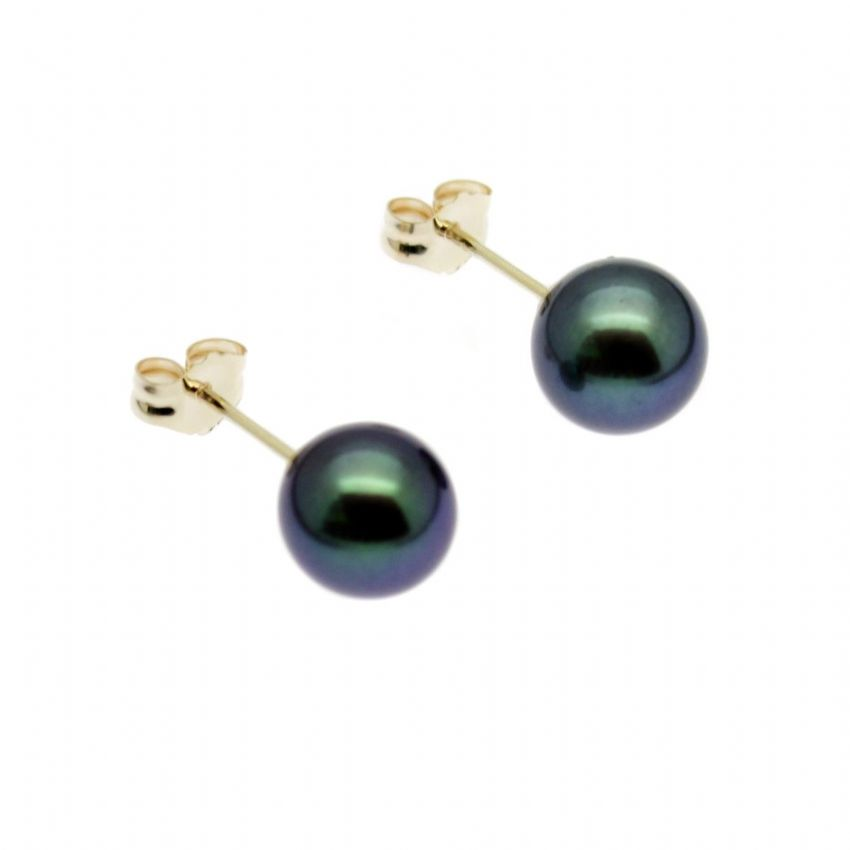 Black Pearl Earrings 9ct Gold Studs 7mm Round Cultured Pearls